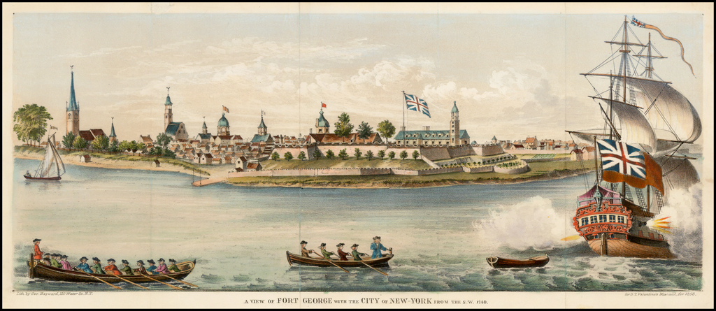 A View of Fort George with the City of New-York from the S.W. 1740  By Valentine's Manual