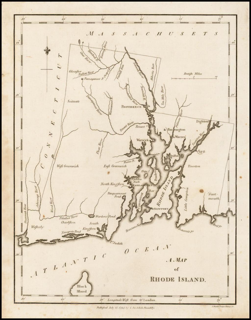 A Map of Rhode Island By John Stockdale