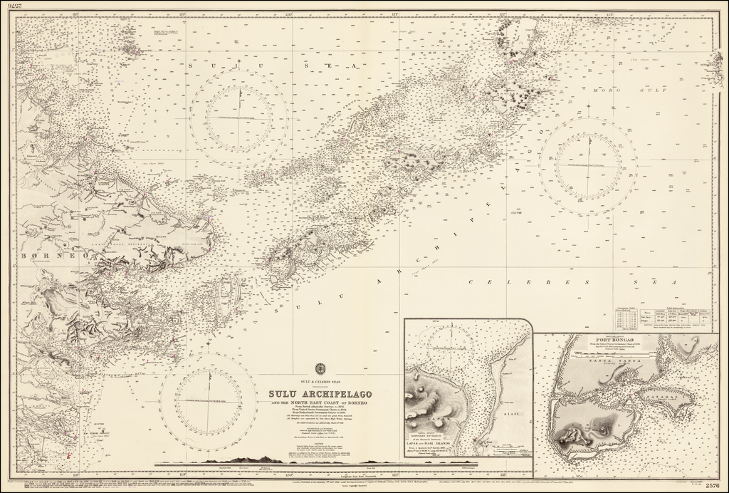 Sulu Archipelago and the North East Coast of Borneo  From British Admiralty.  Surveys to 1892, From United States Government Charts to 1934.  From Netherlands Government Charts to 1936. By British Admiralty