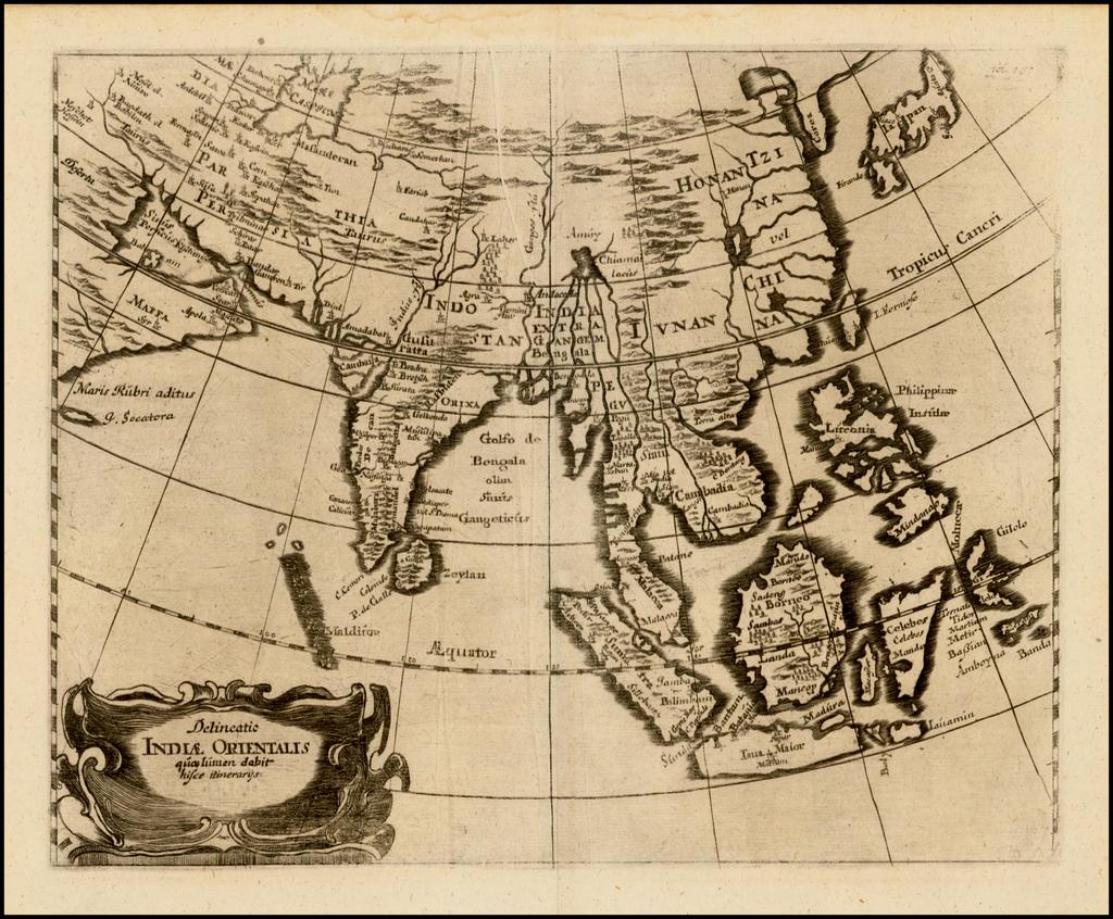 Delineatio Indiae Orientalis quaelumen dabit hisce itinerarijs By Anonymous / Adam Olearius