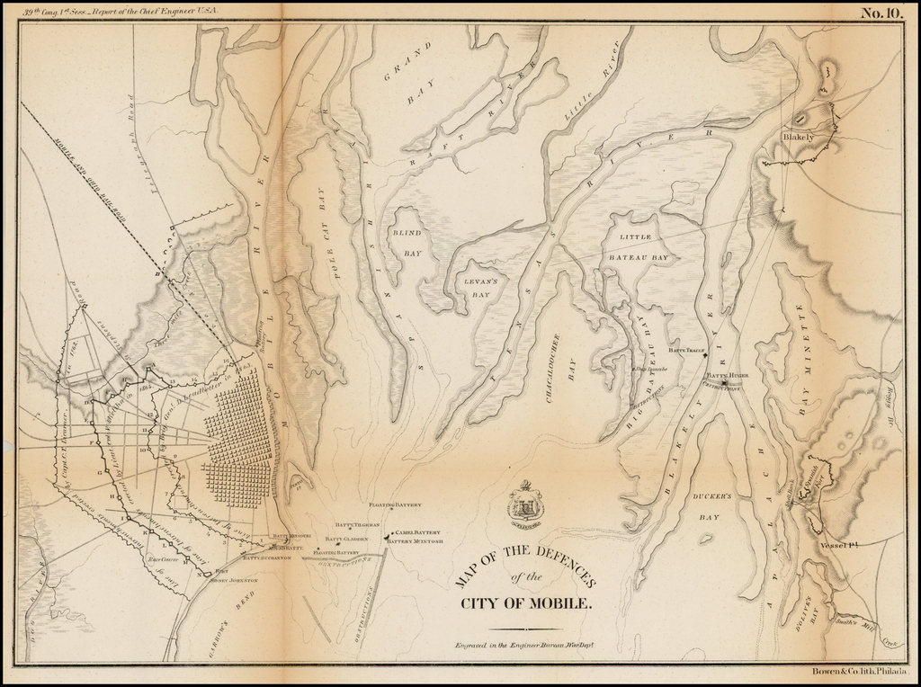 Map of the Defenses of the City of Mobile By United States Bureau of Topographical Engineers