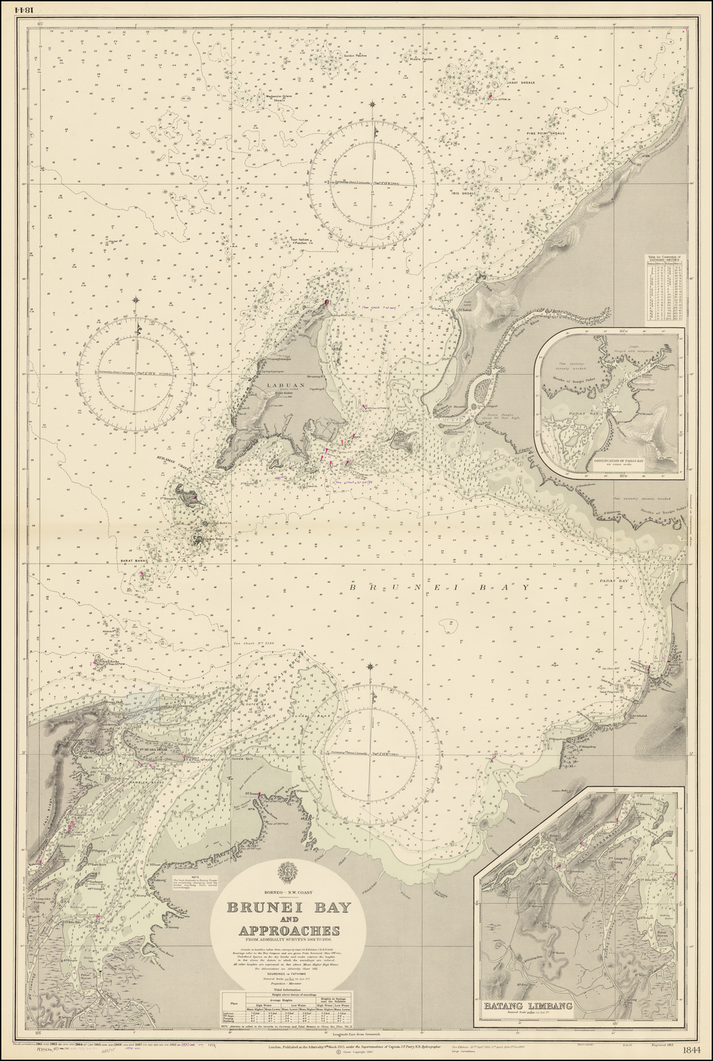 Brunei Bay and Approaches From Admiralty Surveys from 1901 to 1956. . . . By British Admiralty