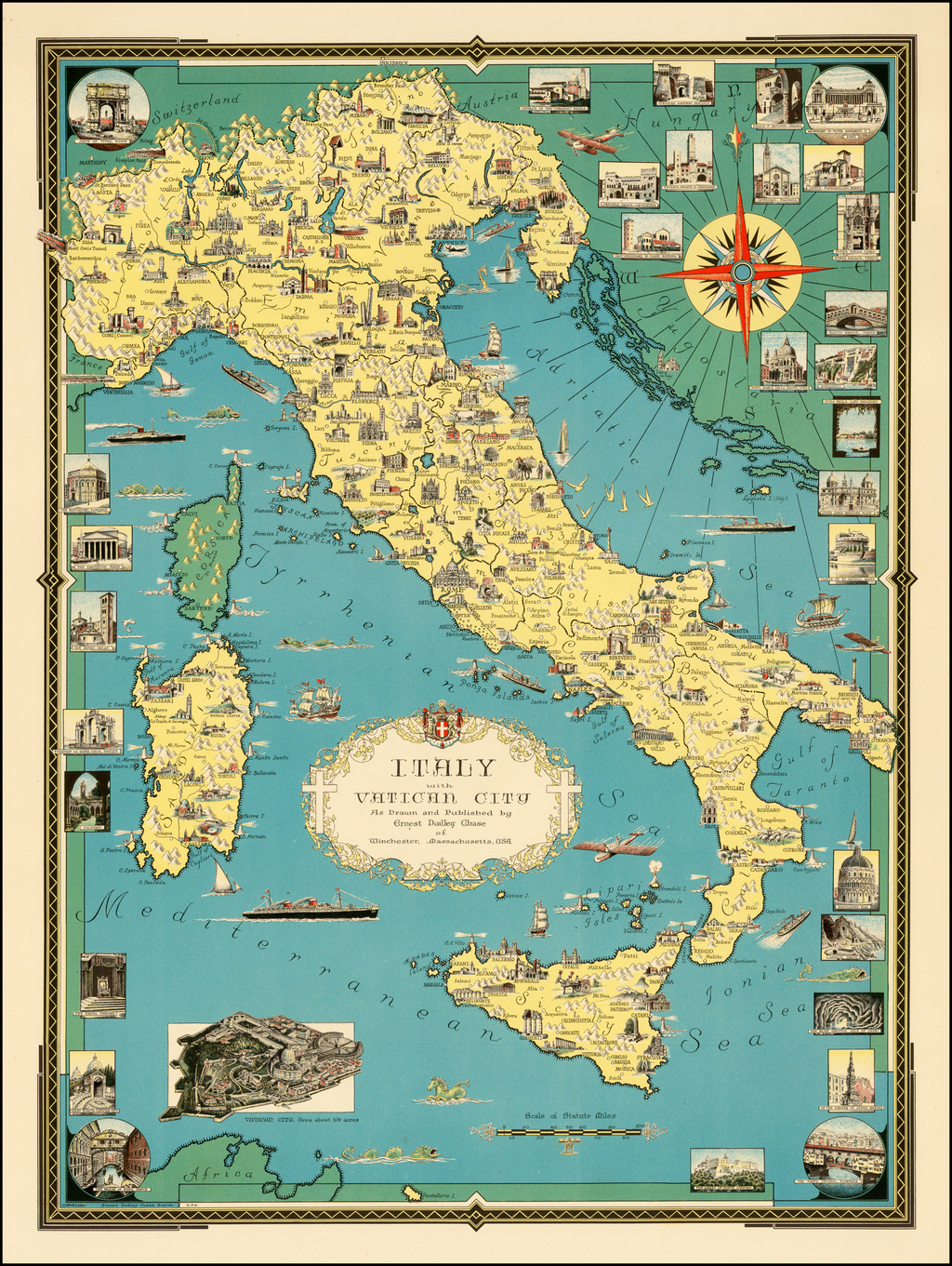 Italy with Vatican City Drawn and Published by Ernest Dudley Chase on
