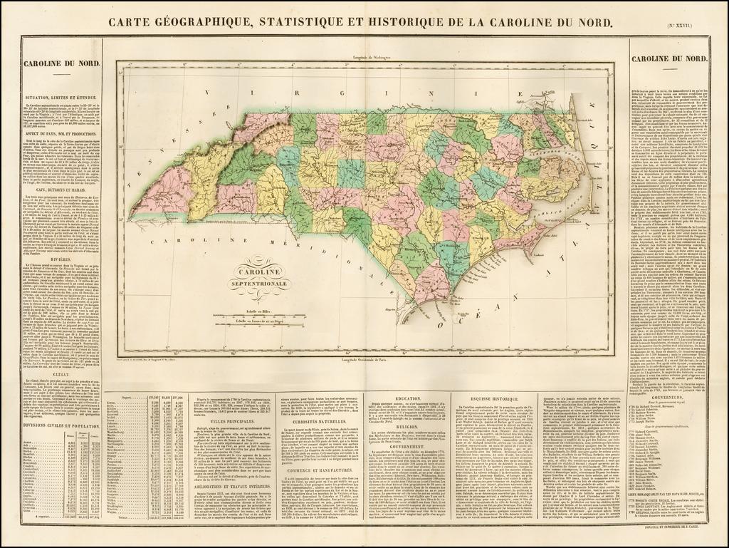 Carte Geographique, Statistique Et Historique De La Caroline Du Nord By Jean Alexandre Buchon