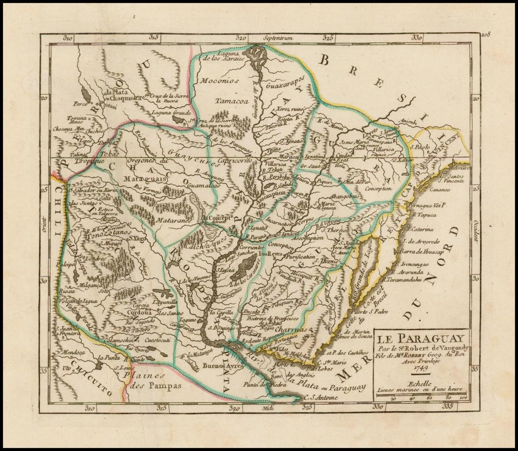 Le Paraguay . . . 1749 By Didier Robert de Vaugondy