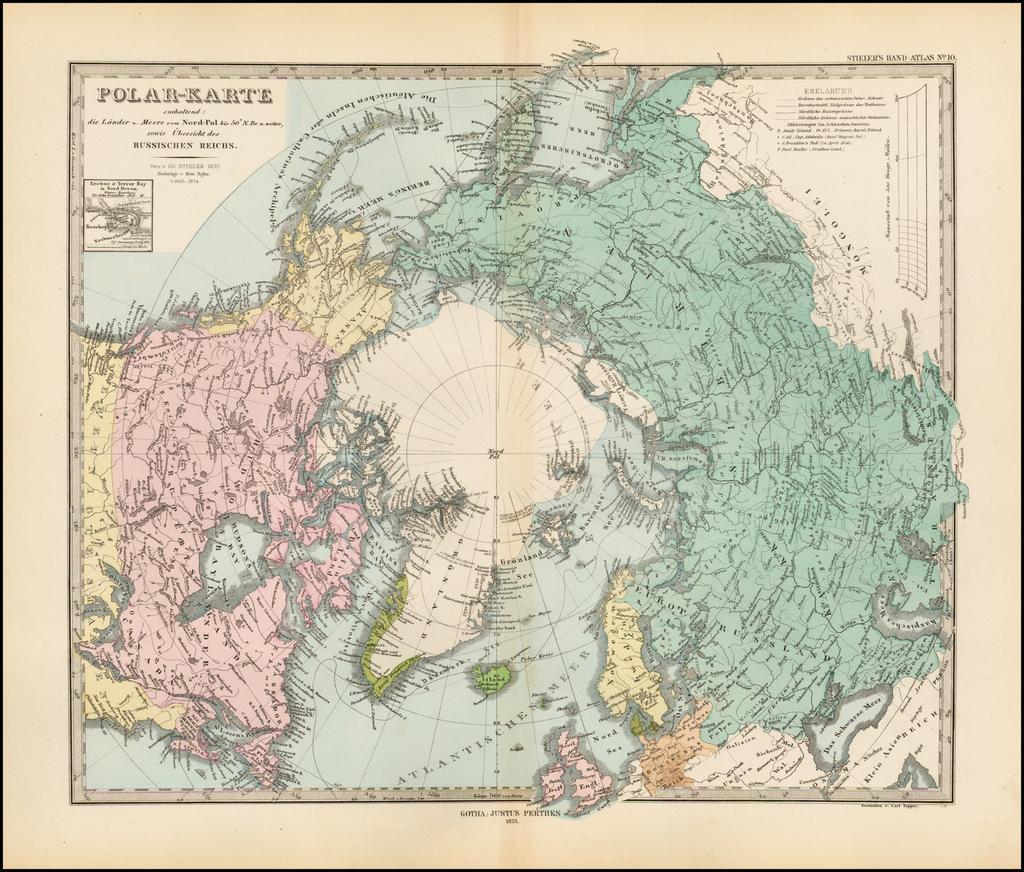 Polar-Karte enthaltend: die Lander u. Meere vom Nord-Pol . . . . 1874 By Adolf Stieler