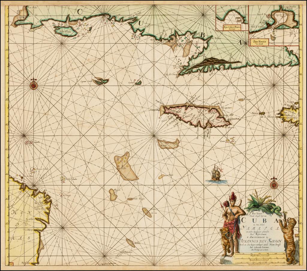 Pas kaart Vande Zuyd kust van Cuba en Van Geheel Yamaica en andre bygeleegen plaatsen Door Vooght Geometra . . .  [includes Cayman Islands] By Johannes Van Keulen