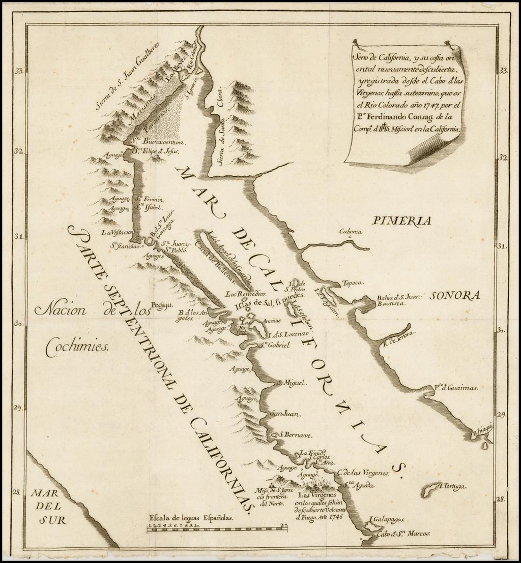 Seno de California, y su costa oriental nuevamente descubierta, y registrada desde el Cabo de las Virgenas, hasta su termino, que es el Rio Colorado ano 1747 . . . By Ferdinando Consag