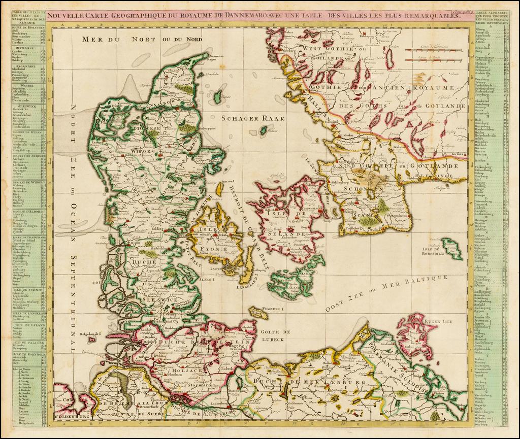 Nouvelle Carte Du Royaume De Dannemarck Avec une Table des Villes Les Plus Remarquables  By Henri Chatelain