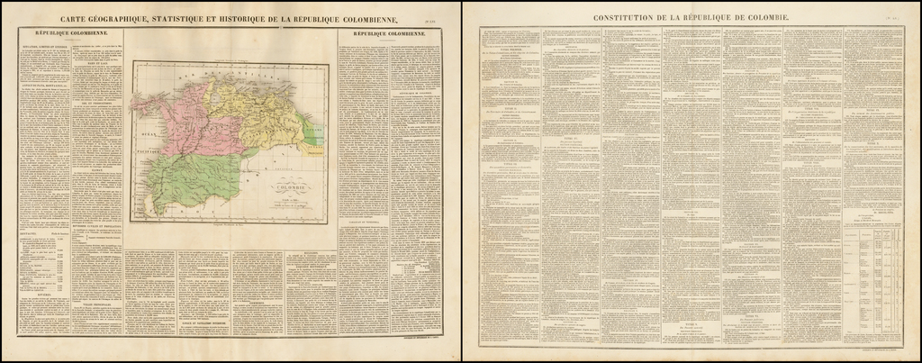Carte Geographique, Statistique et Historique De La Republique Colombienne (with Constitution of the Republic of Colombia) By Jean Alexandre Buchon