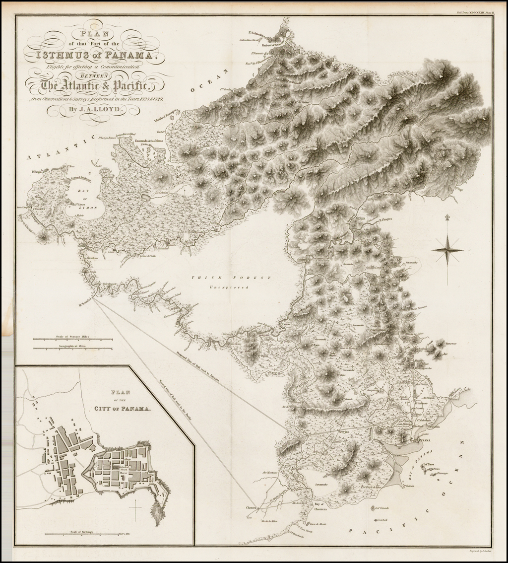 Plan of that Part of the Isthmus of Panama Eligible for effecting a Communication Between The Atlantic & Pacific from Observations & Surveys performed in the Years 1828 & 1829, By J.A. Lloyd. By Royal Geographical Society