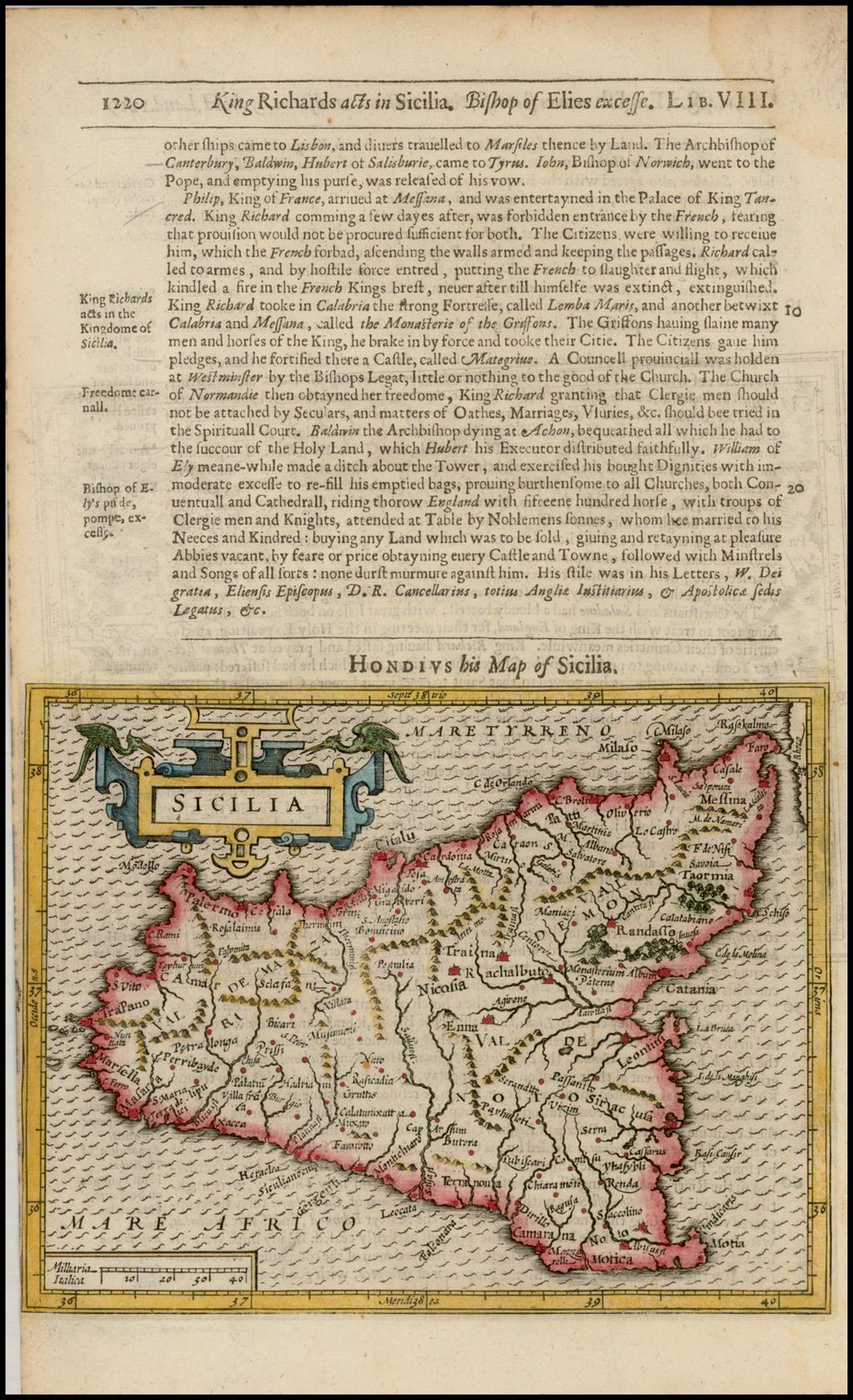 Sicilia By Jodocus Hondius / Samuel Purchas