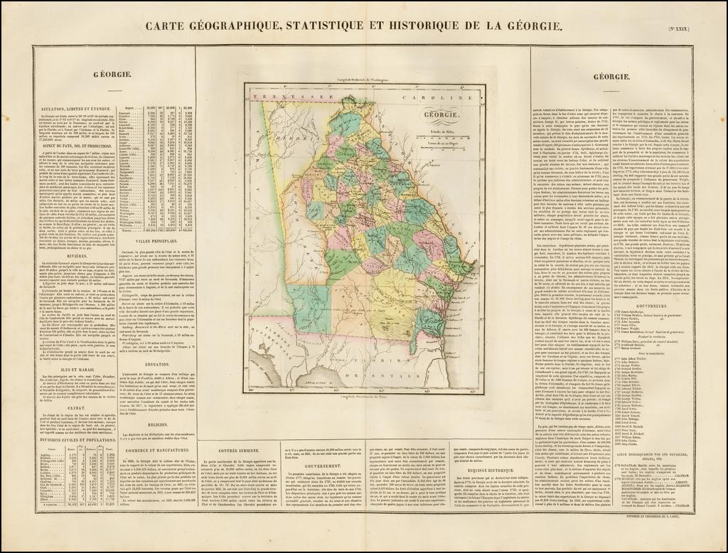 Carte Geographique, Statistique Et Historique De La Georgie By Jean Alexandre Buchon