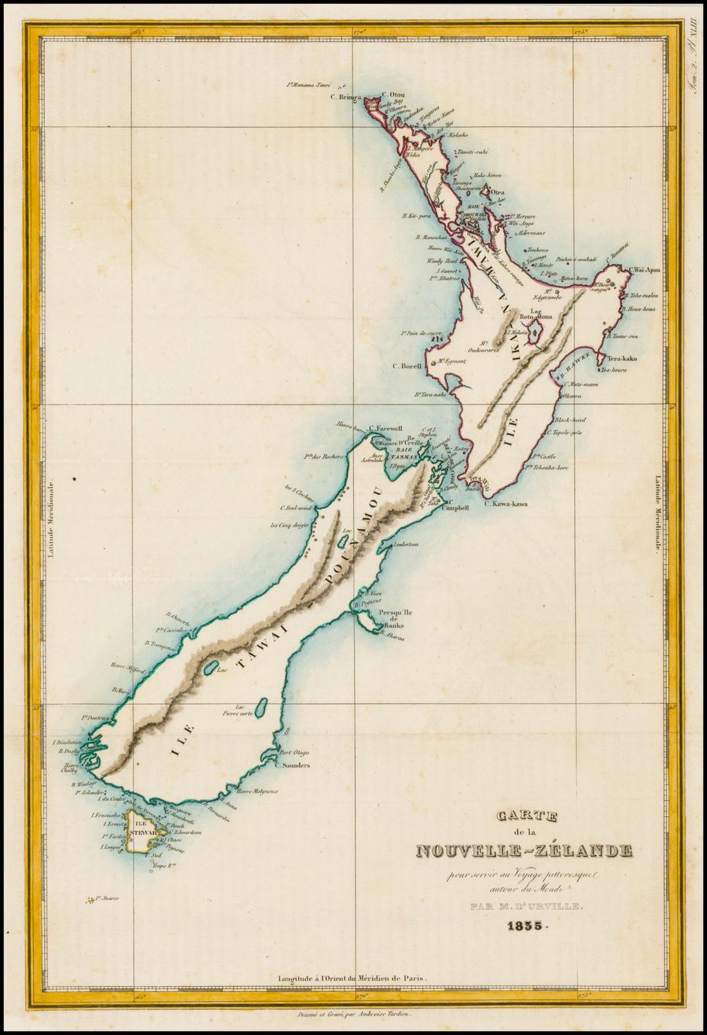 Carte de la Nouvelle-Zelande pour Servir au Voyage Pittoresque autour du Monde . . . 1835 By Jules Sebastian Cesar Dumont-D'Urville