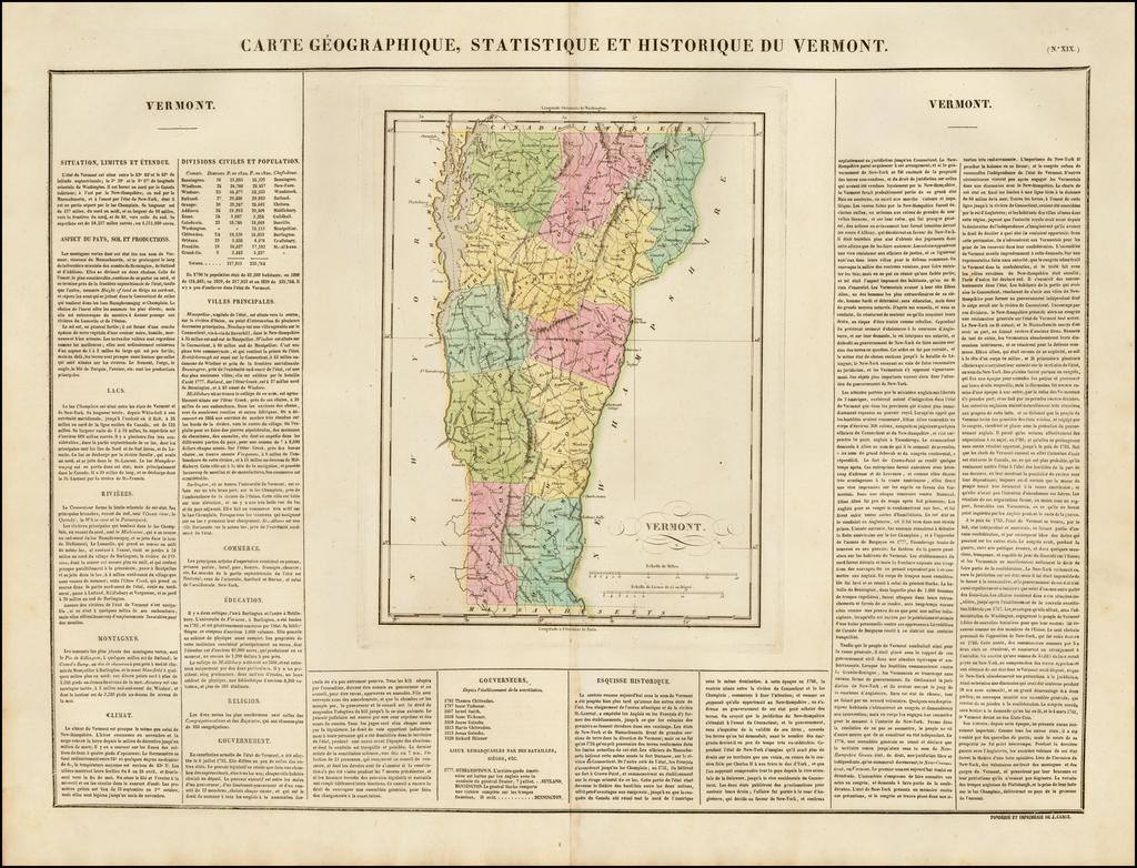 Carte Geographique, Statistique et Historique Du Vermont By Jean Alexandre Buchon