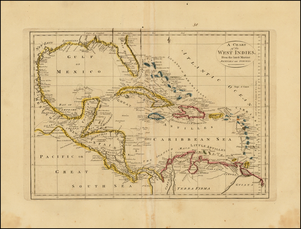 Chart of the West Indies From the latest Marine Journals and Surveys By Mathew Carey