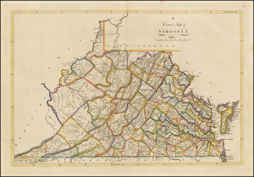 A Correct Map of Virginia By Mathew Carey