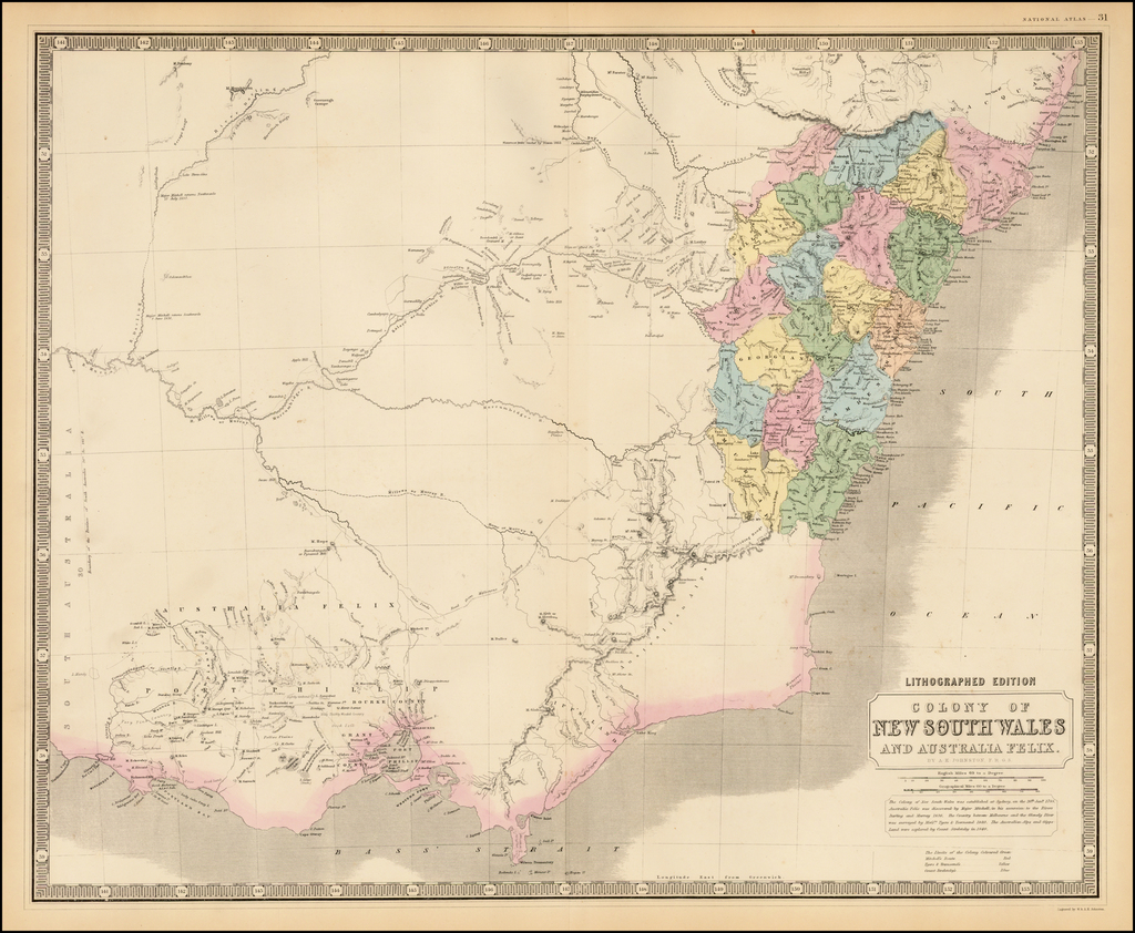 Colony of New South Wales and Australia Felix By W. & A.K. Johnston