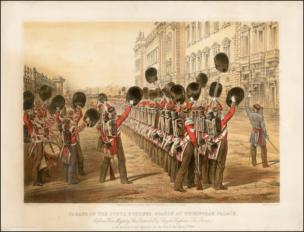 Parade of the Scots Fusileer Guards at Buckingham Palace, (before her Majesty the Queen, & His Royal Highness, The Prince) on the Morning of their departure for the Seat of War, March 2nd, 1854 By Paul & Dominic Colnaghi