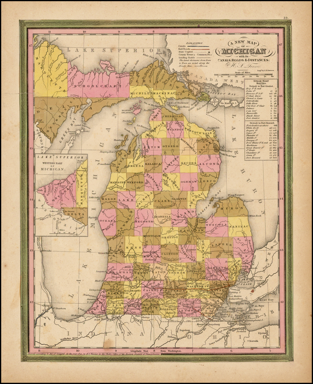 A New Map of Michigan with its Canals, Roads & Distances by H.S. Tanner By Henry Schenk Tanner