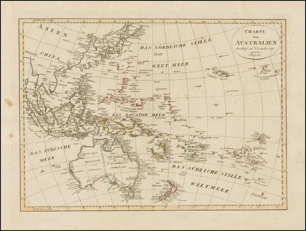 Charte von Australien berichtigt im November 1812 . . .  By Iohann Matthias Christoph Reinecke