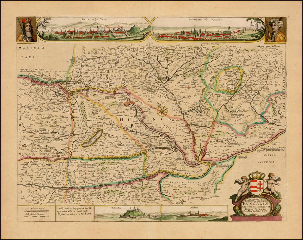 Novissima et Emendata Delineatio Hungariae una cum adjacentibus et Finitims Regionibus Exudebat Frederick de Wit By Frederick De Wit