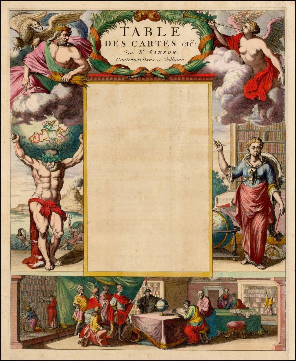 [Title Page] Table des Cartes etc: Du Sr. Sanson Contenues Dans ce Vollume By Pieter Mortier