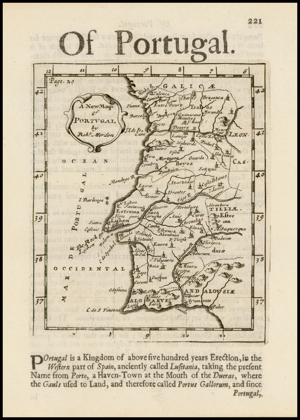A New Map of Portugal By Robert Morden