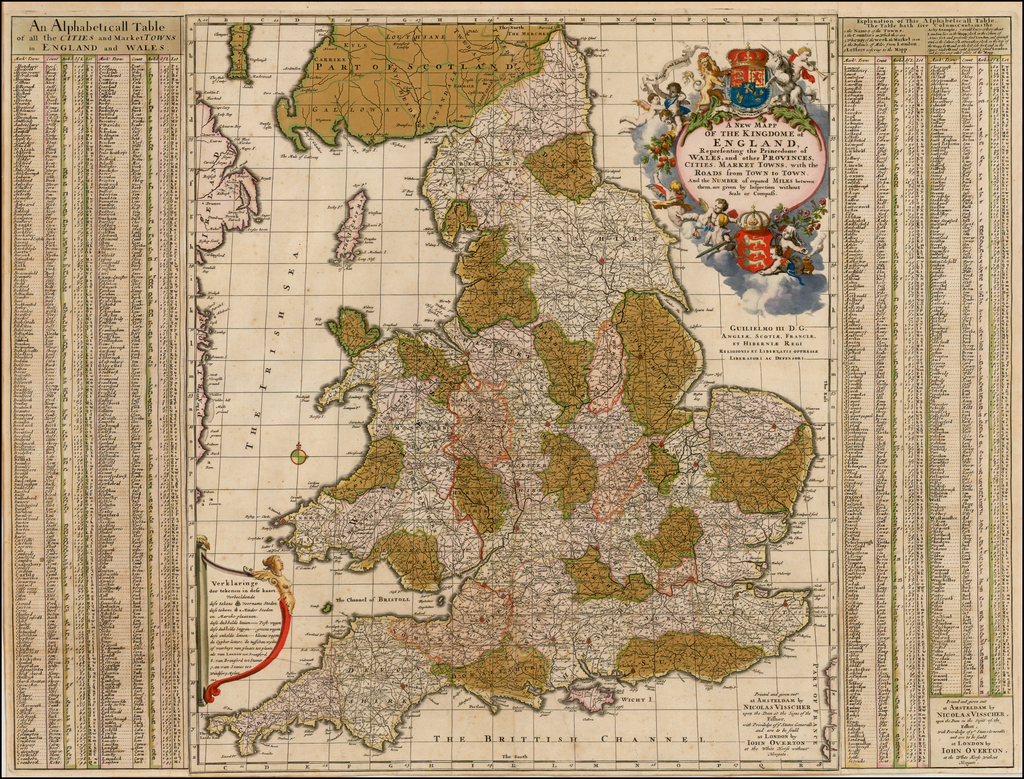 Road Map Of England And Wales With Towns.A New Mapp Of The Kingdome Of England Representing The Princedome