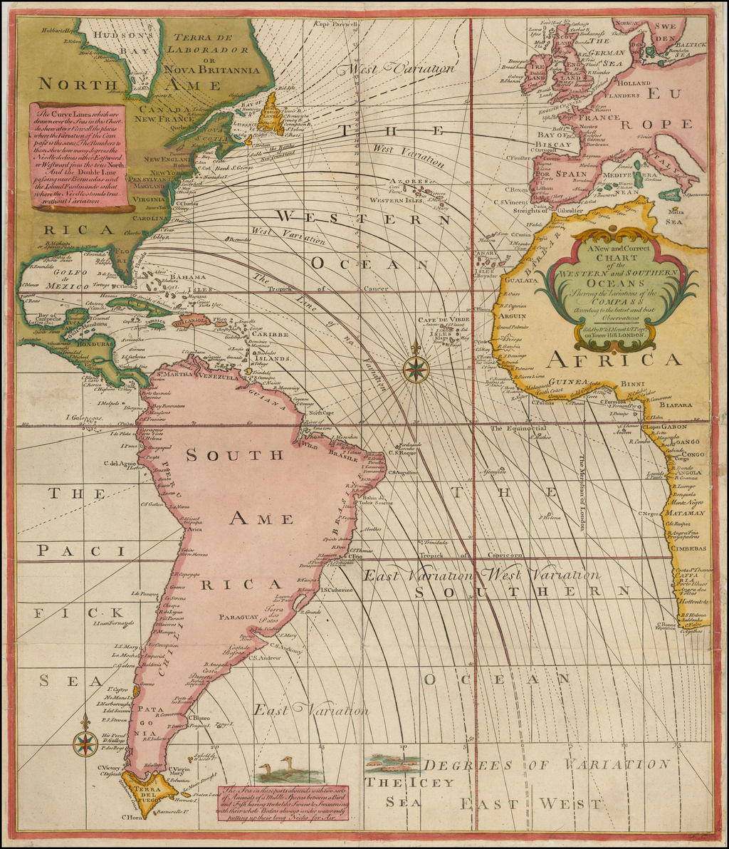 A New and Correct Chart of the Western and Southern Oceans Showing the Variations of the Compass According to the Latest and Best Observations By Mount & Page