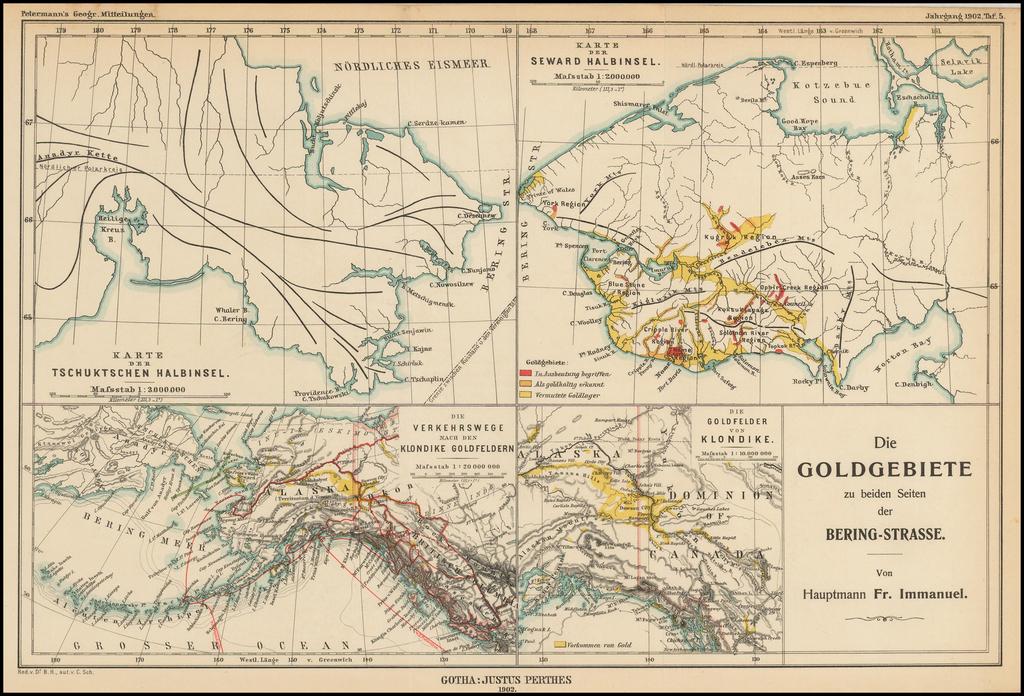 Die Goldgebiete zu beiden Seiten der Bering-Strasse.  Von Hauptmann Fr. Immanuel. By Augustus Herman Petermann