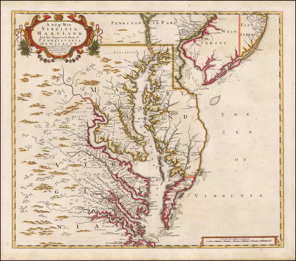 A New Map of Virginia Mary=Land And The Improved Parts of Penn=sylvania & New Jersey Most humbly Inscribed to the Right Hon.ble the Earl of Orkney &c. . .  .1719 By John Senex