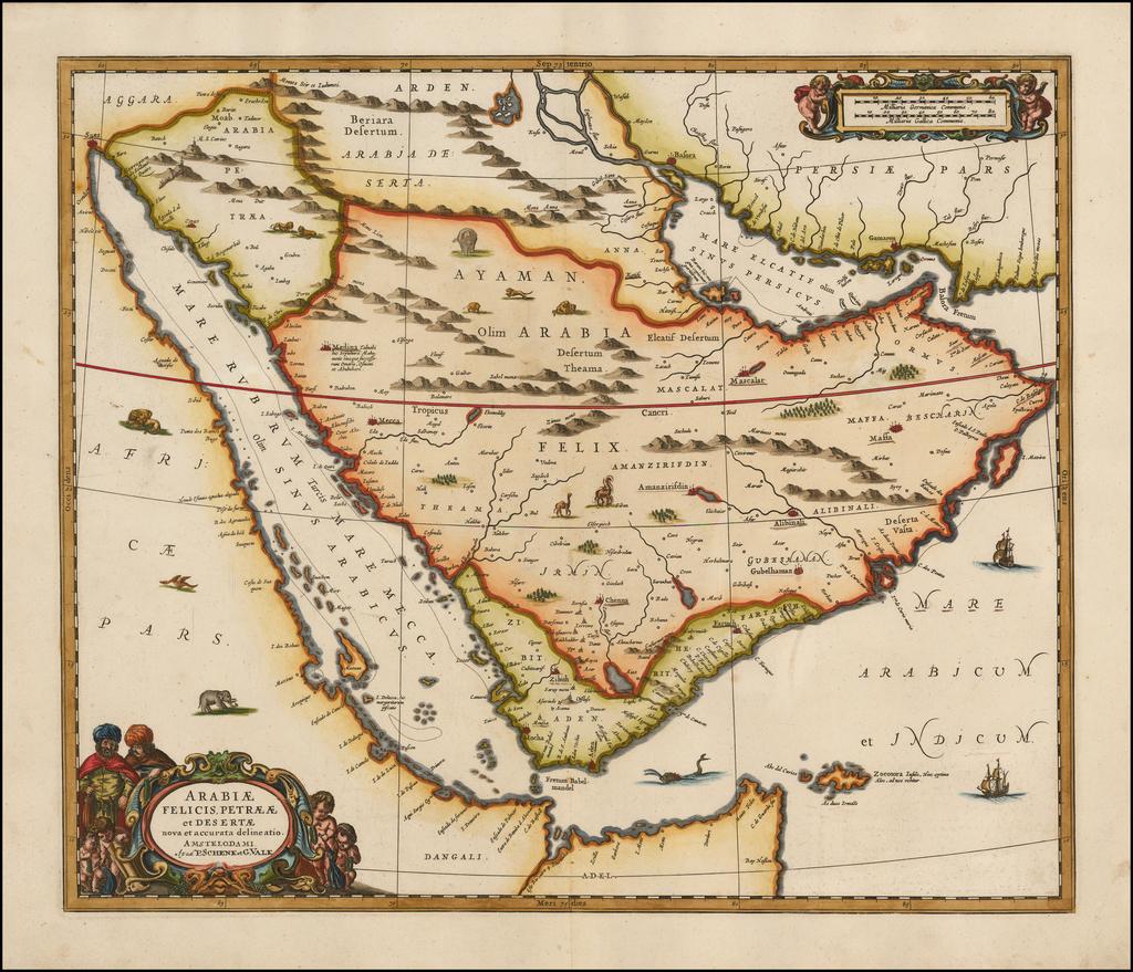 Arabiae Felicis, Petraeae et Desertae nova et accurata delineatio By Jan Jansson / Valk & Schenk