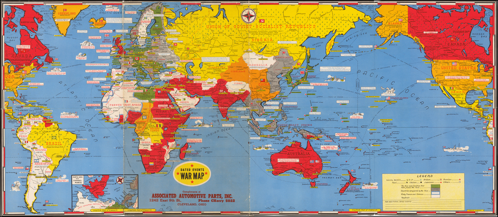 World] Dated Events War Map Compliments of Associated
