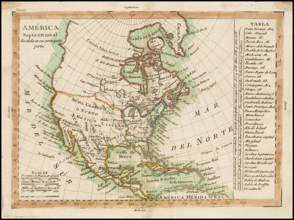 America Septentrional dividida en sus principales partes  (naming Texas and Nueva Filipinas) By Tomás López