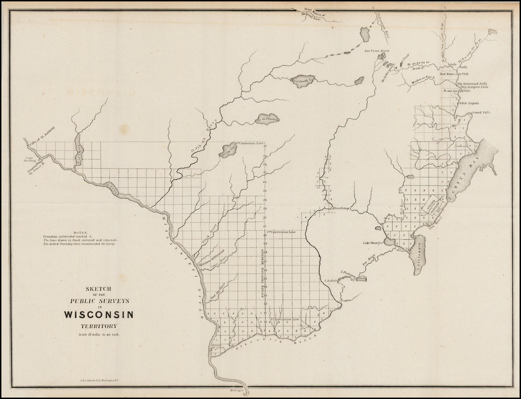 Sketch of the Public Surveys in Wisconsin Territory . . .  By General Land Office