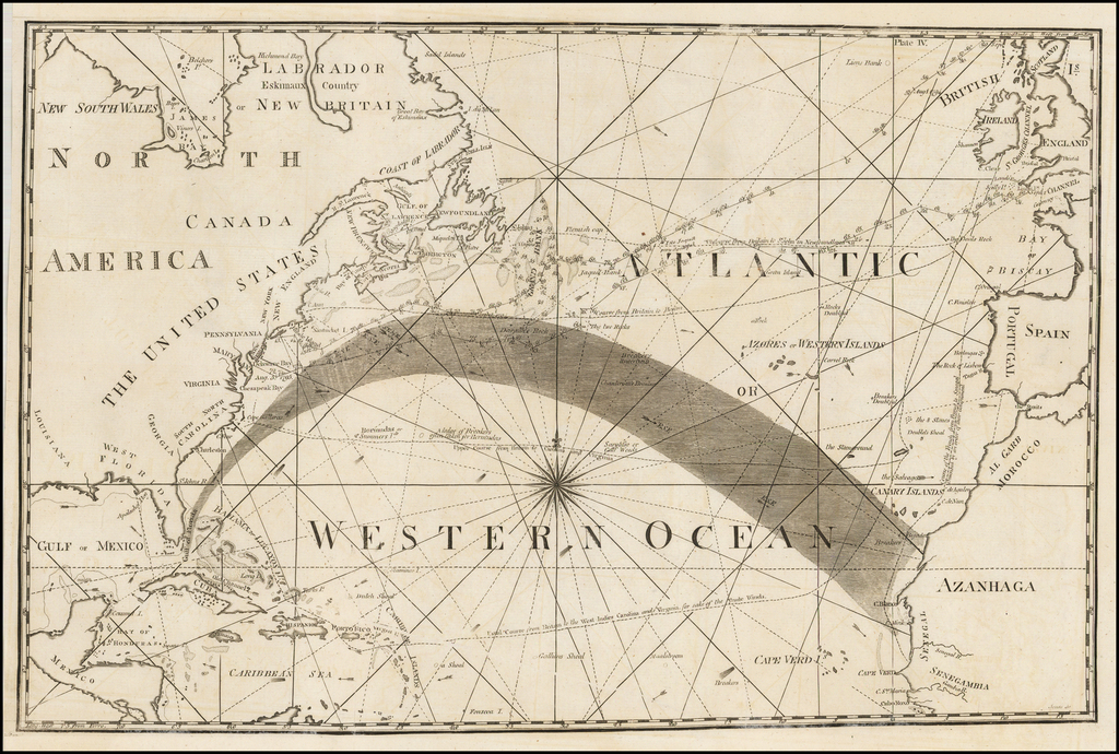 (Gulf Stream Map -- Atlantic or Western Ocean) By American Philosophical Society / Benjamin Jones