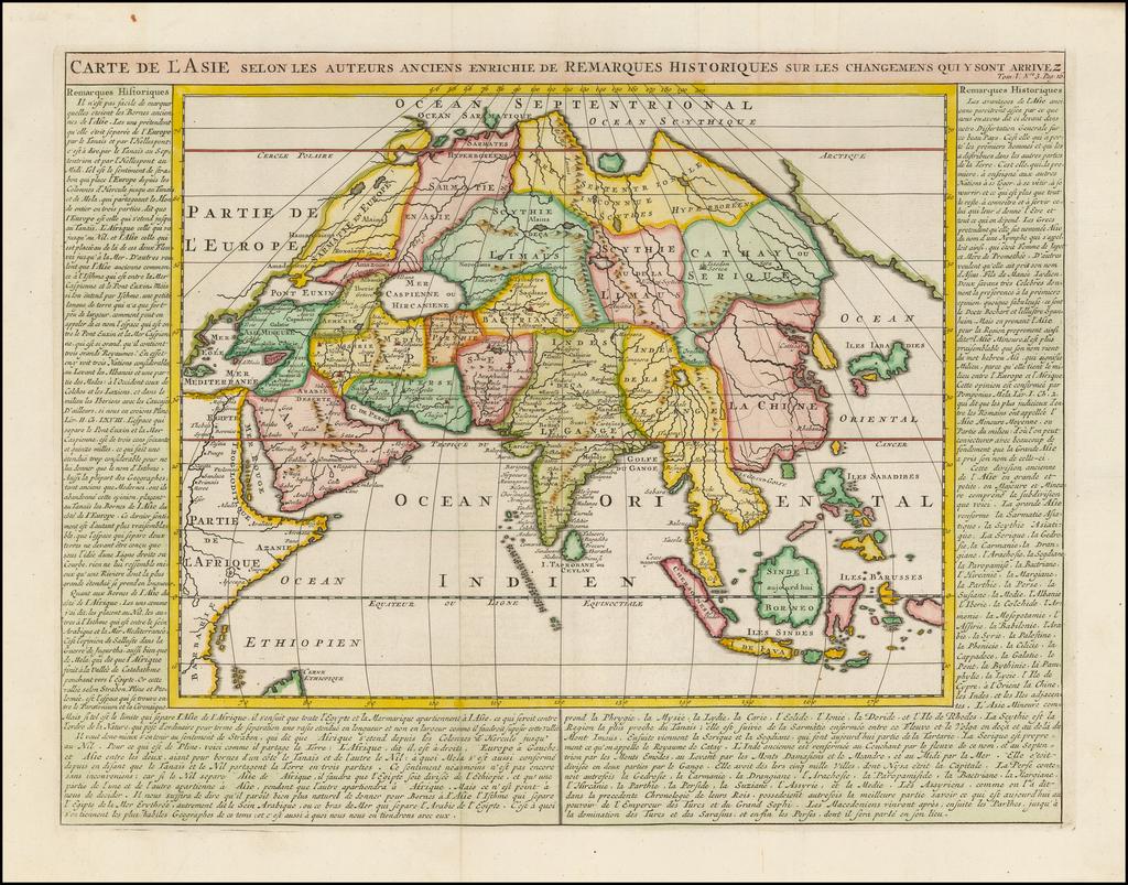 Carte de L'Asie selon le auteurs Anciens enrichie de Remarques Historiques sur les changemens qui y sont arrivez . . .  By Henri Chatelain