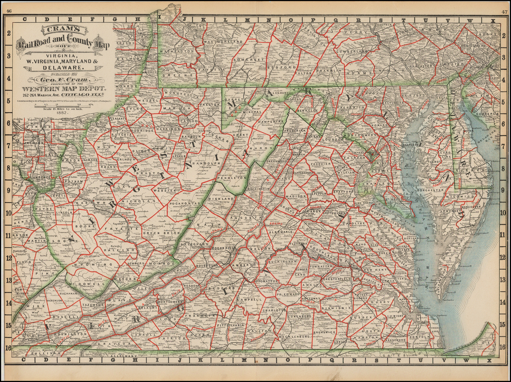 Cram's Rail Road & County Map of Virginia, W. Virginia, Maryland and Delaware . . . 1882 By George F. Cram