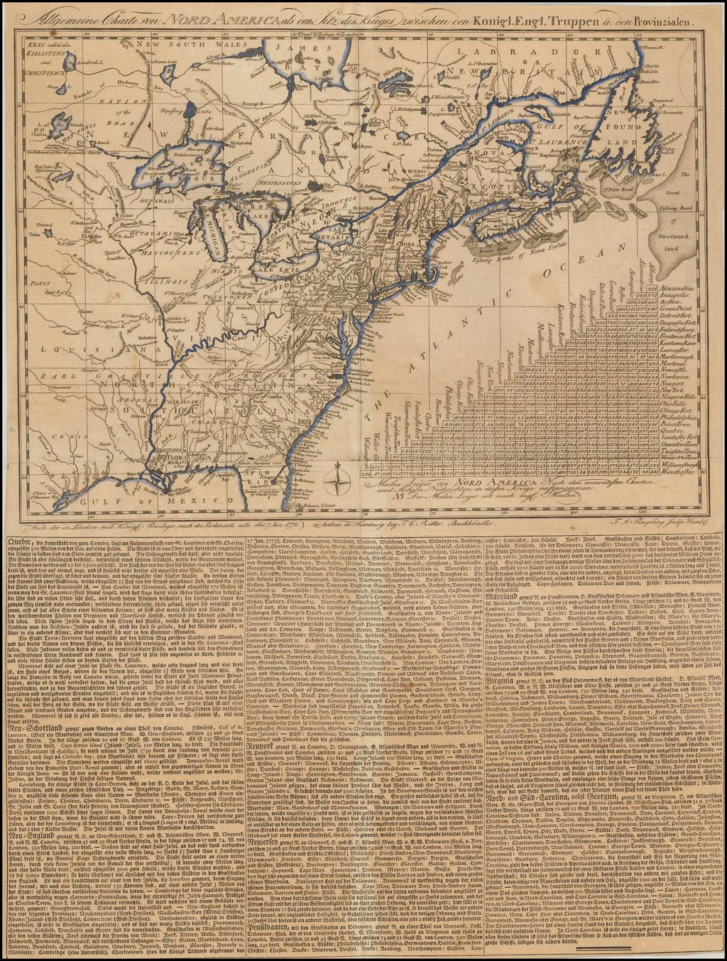 [Revolutionary War Broadside Map] Allgemeine Charte von Nord America als den Sitz des Krieges zwischen den Konigl. Engl. Truppen u:den Provinzialen  By Thomas Albrecht Pingeling / T.C. Ritter