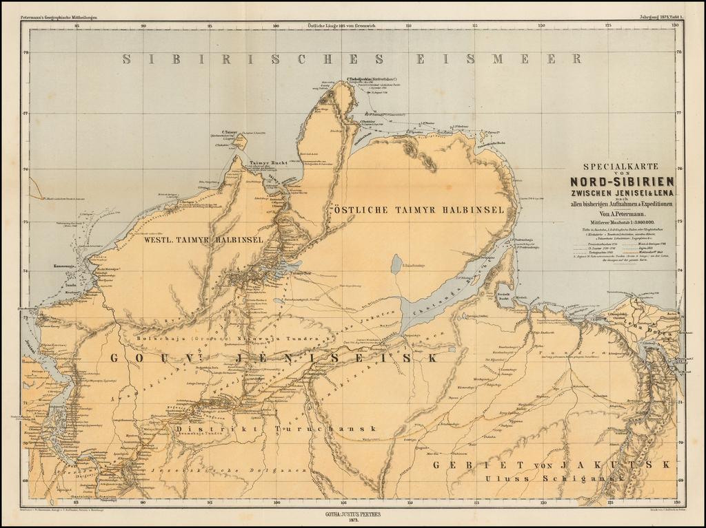 Specialkarte von Nord-Sibirien Zwischen Jenisei & Lena nach allen bisherigen Aufnahmen & Expeditionem . . .  . By Augustus Herman Petermann