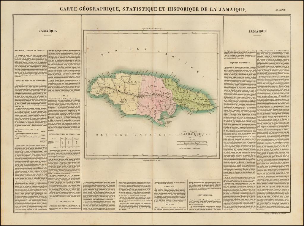 Carte Geographique, Statistique et Historique De La Jamaique By Jean Alexandre Buchon