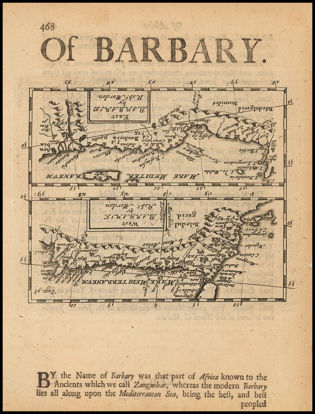West Barbarie [and] East Barbarie  (Upside down printing!) By Robert Morden