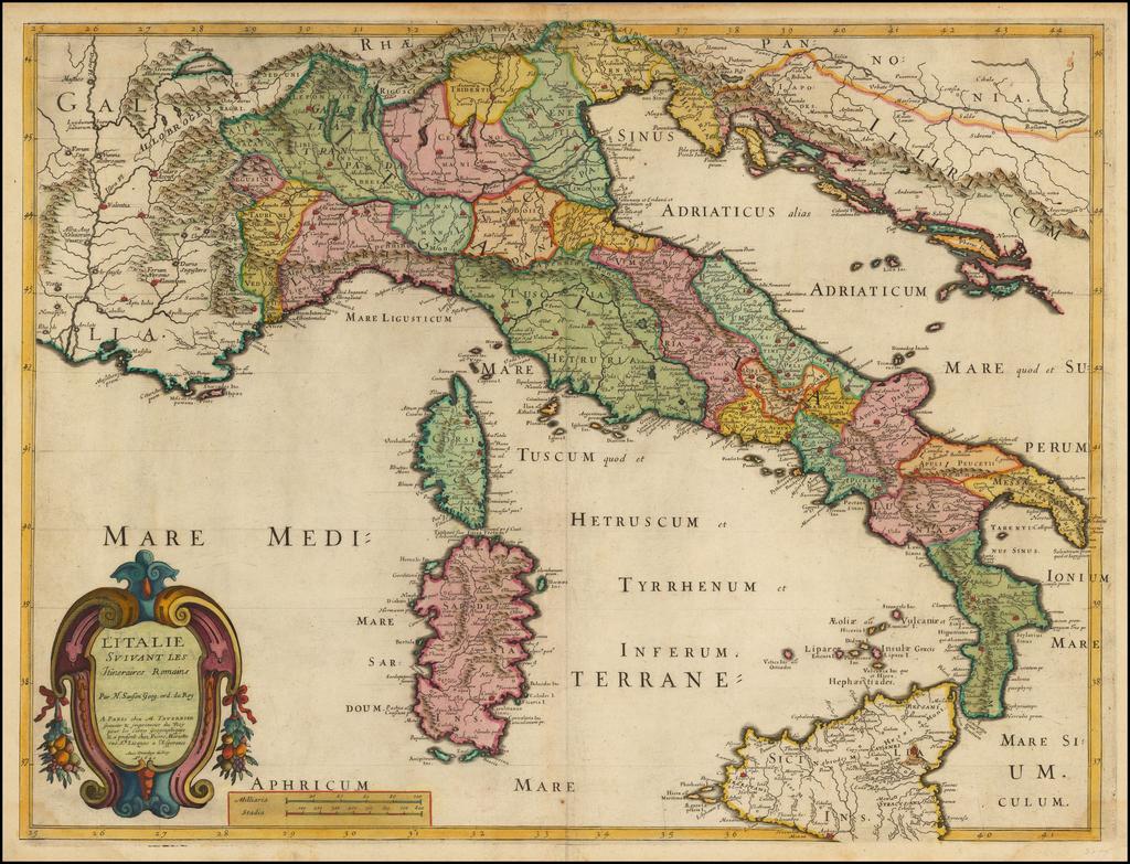 L'Italie Suivant Les Itineraires Romains . . . 1641 (Title Pasted Over Earlier Title) By Melchior Tavernier