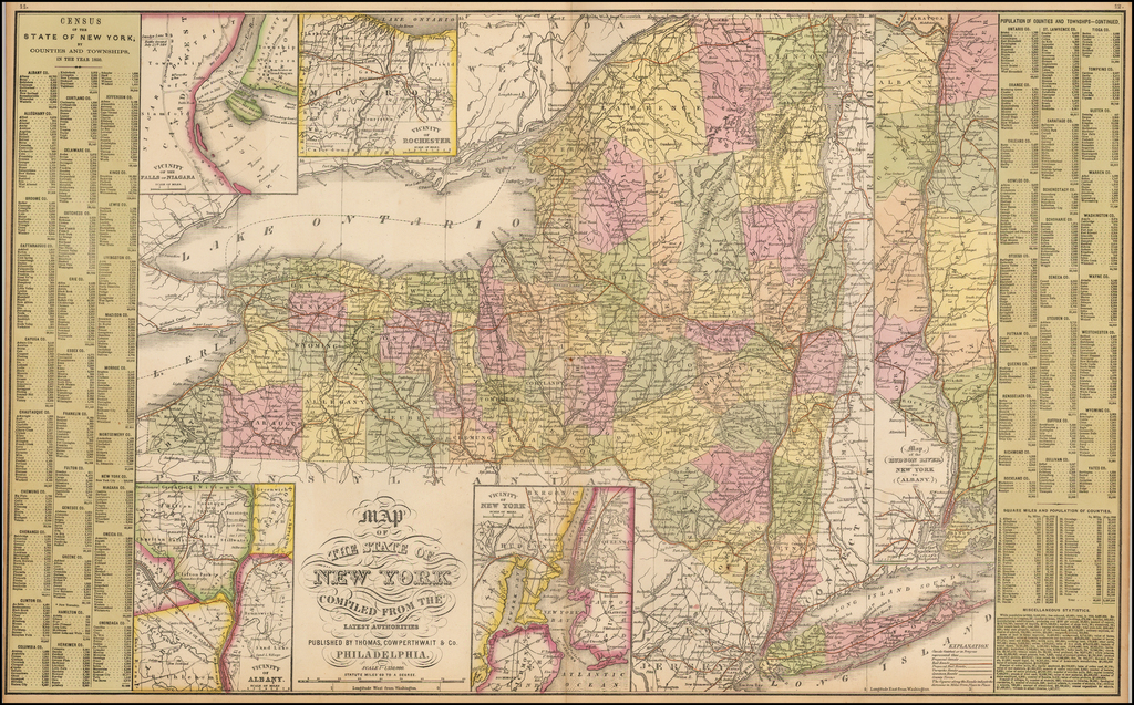Map of the State of New York Compiled From The Latest Authorities By Thomas, Cowperthwait & Co.