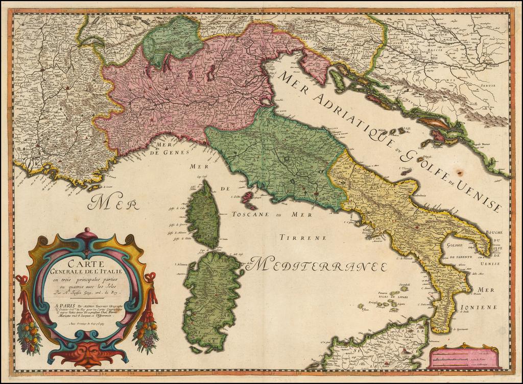 Carte Generale De L'Italie en trois principales parties ou quatres avec les Isles . . . 1643 (Title Pasted Over Earlier Title) By Melchior Tavernier