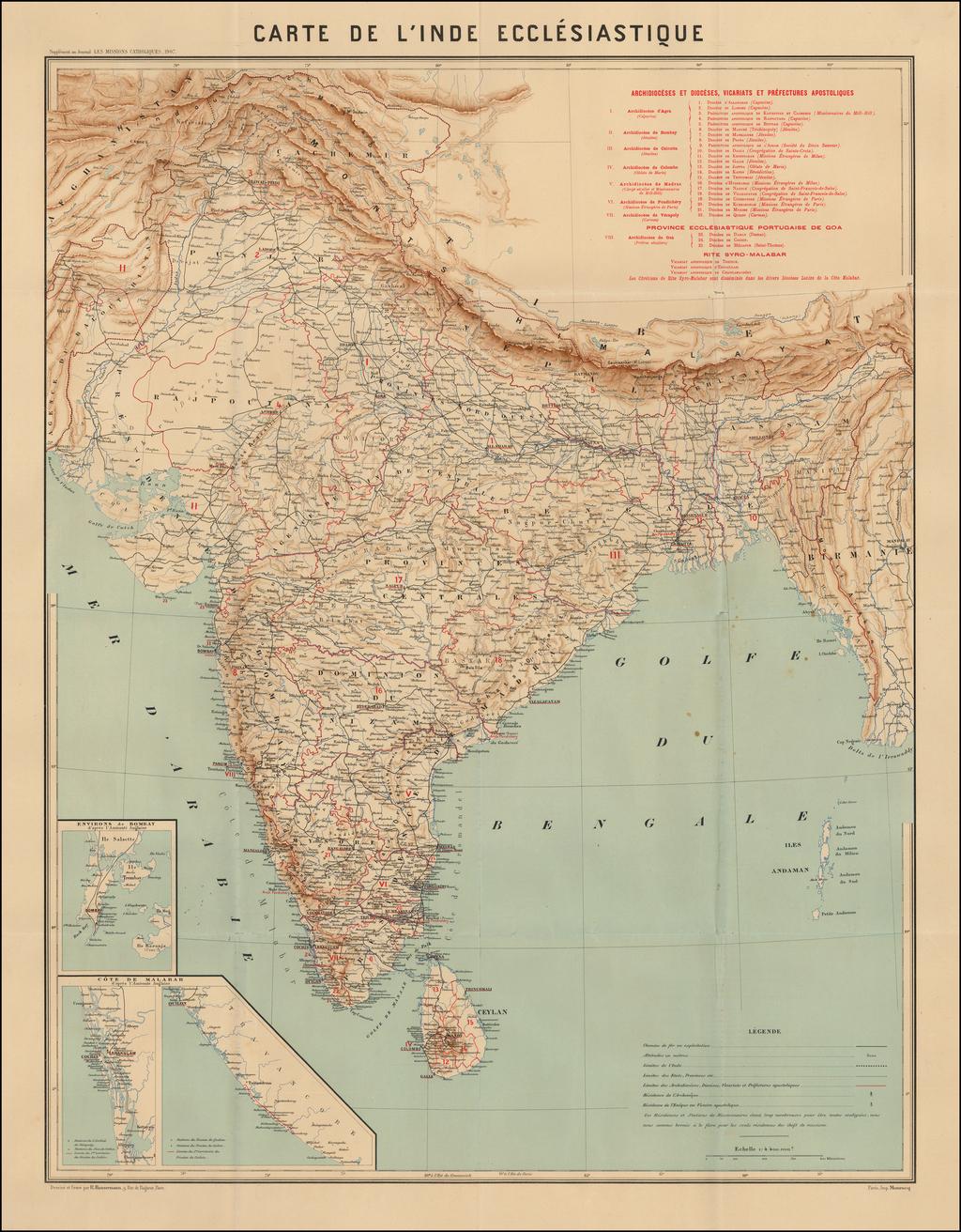 Carte De L'Inde Ecclesiastique By Adrien Launay