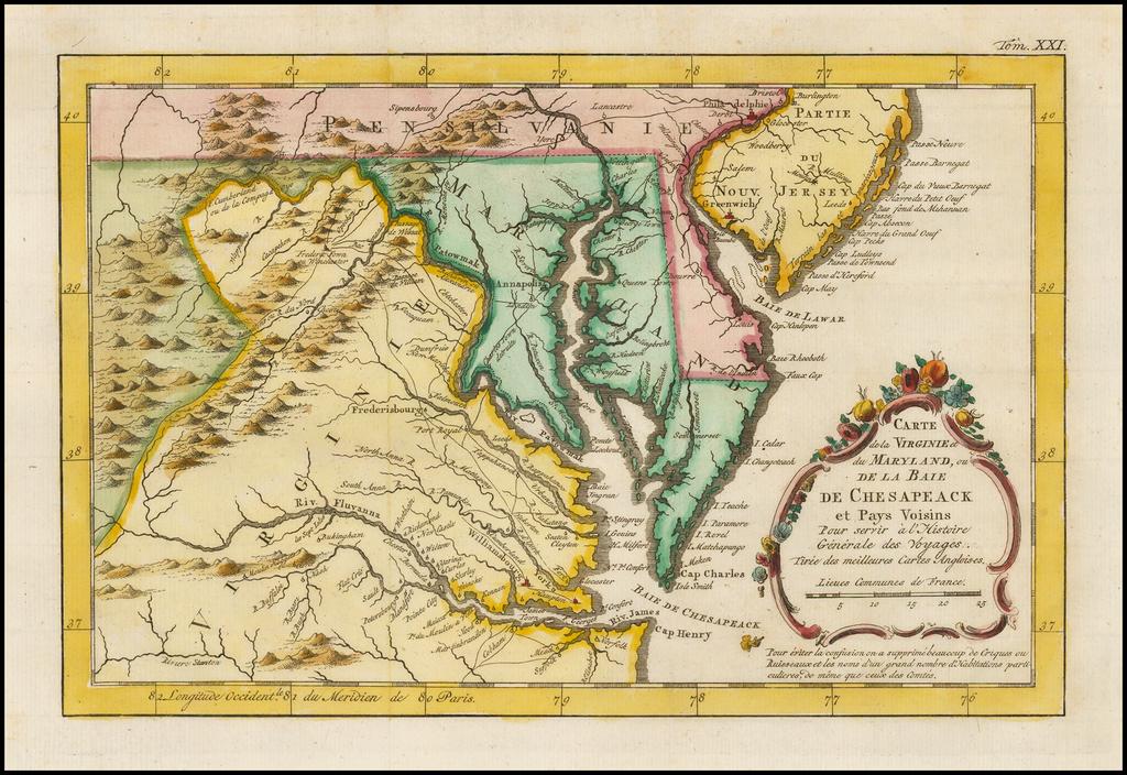 Carte De la Virginie et Maryland, ou De La Bai De Chesapeak, et Pays Voisins . . . By A. Krevelt