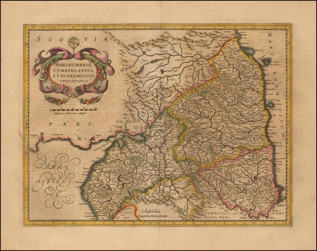 Northumbria Cumberlandia et Dunelmensis Episcopatus By Jodocus Hondius