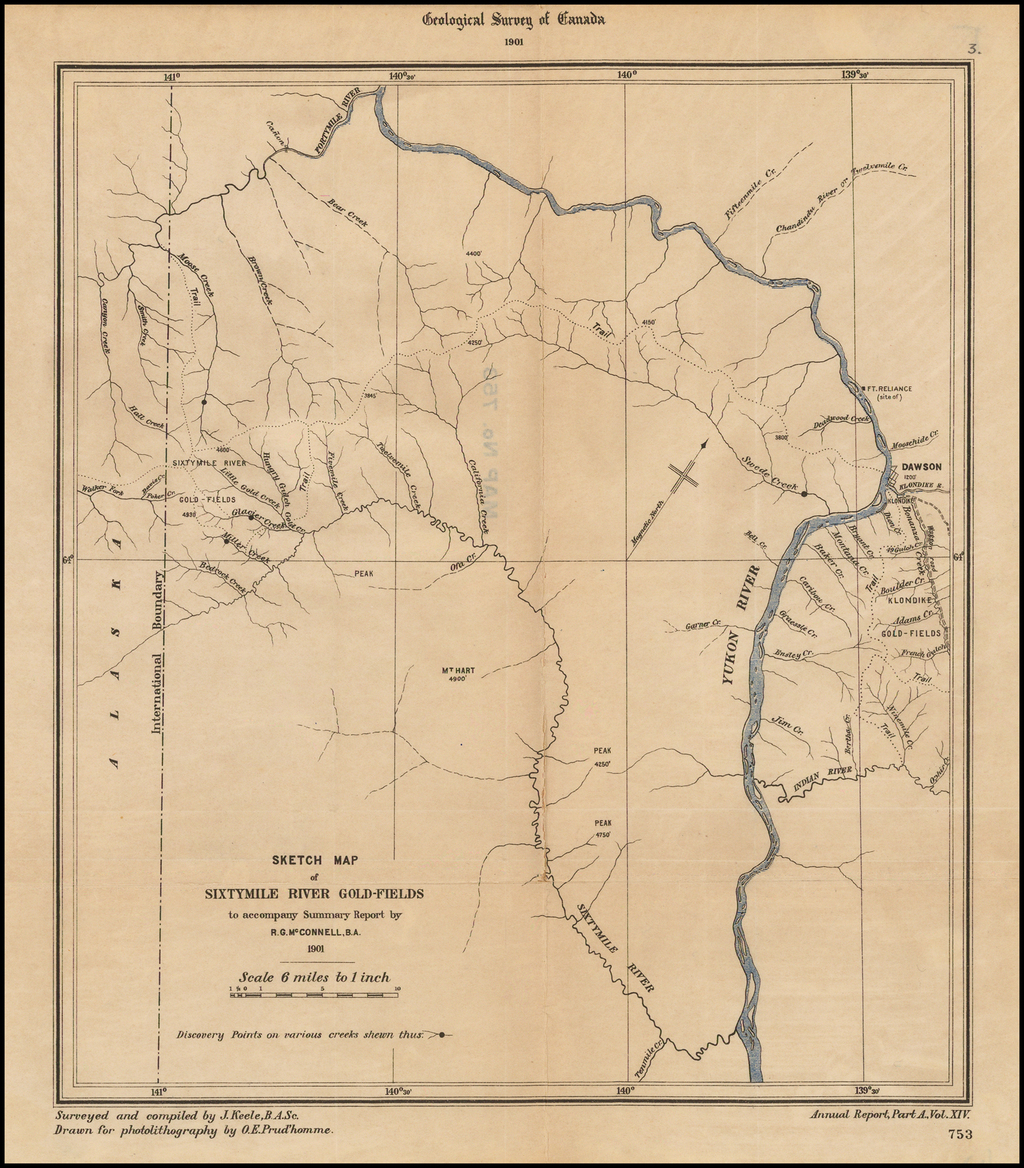 Sketch Map of Sixtymile River Gold-Fields to accompany Summary Report by R.G. McConnell, B.A.  1901. By Geological Survey of Canada